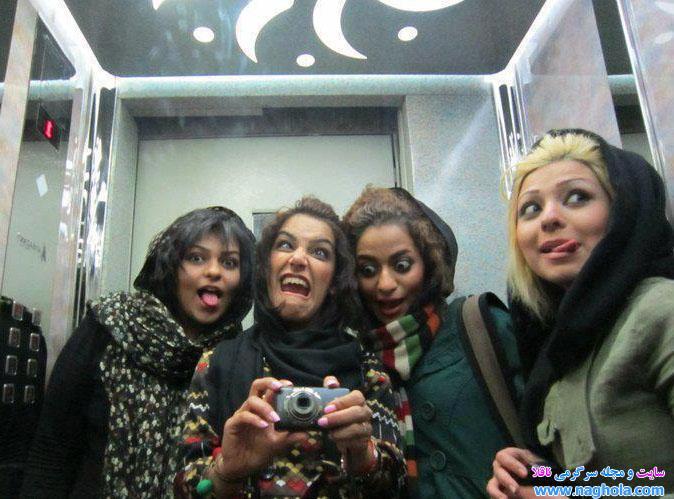 عکس عجیب و جالب دختران بدحجاب در آسانسور!!