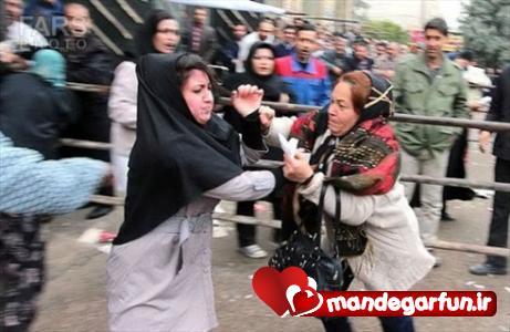عکس های جالب از زد و خورد زنان در صف توزیع سبد کالا