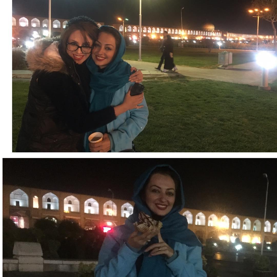 عکس نفیسه روشن در کنار سی و سه پل اصفهان
